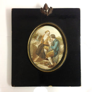 Handpainted Ivorine Miniature Portrait of a Couple c.1900's