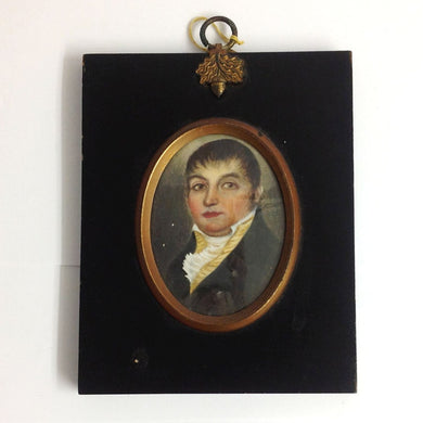 Hand Painted Miniature Portrait of a Master in Ebony Frame