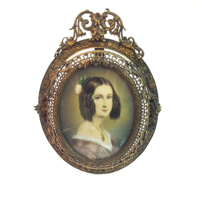 Hand-painted Ivory Miniature - Portrait of a Young Woman