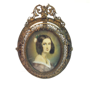 Handpainted Ivory Miniature - Portrait of a Young Woman