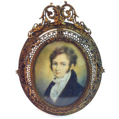 Handpainted Ivory Miniature - Portrait of a Gentleman