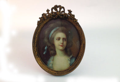 Handpainted Minaiture Portrait of Young Girl in Blue Ribbon