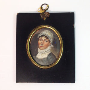 Handpainted Miniature Portrait of a Maid in Black Frame