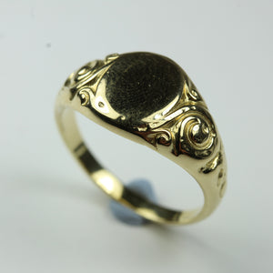 9ct Yellow Gold Oval Carved Signet Ring
