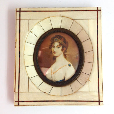 Hand-painted Miniature of Woman in Ivory Frame
