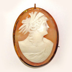 9ct Gold Conch Cameo Brooch - Inscribed