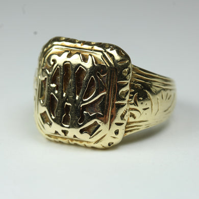 Vintage 9ct Yellow Gold Initial Carved Signet Ring