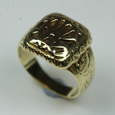 9ct Yellow Gold Carved Vintage Signet Ring