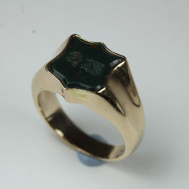 9ct Yellow Gold Bloodstone Sheild Signet Ring