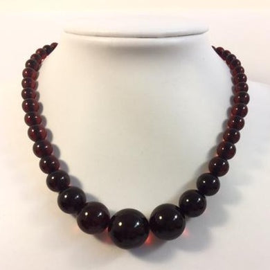Antique Natural Cherry Amber Graduated Beaded Necklace