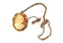 English Rose 12ct Gold Cameo and Key Pendant
