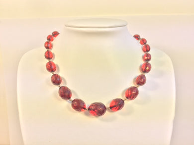 Vintage Faceted Cherry Amber Necklace