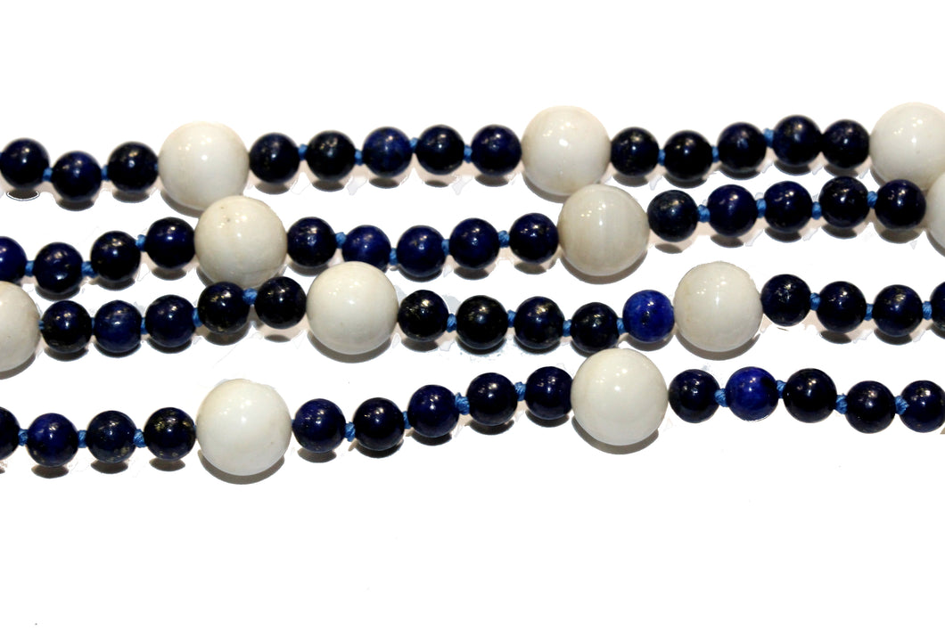 Natural Lapis Lazuli and White Jadeite Necklace