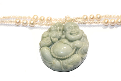 Jadeite and Pearl Buddha Necklace