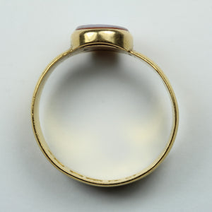 22ct Yellow Gold Round Cut Sardonyx Mens Ring
