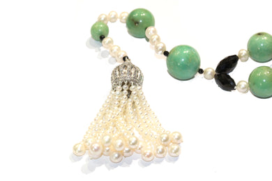 Chrysoprase, Pearl and Spinel Necklace