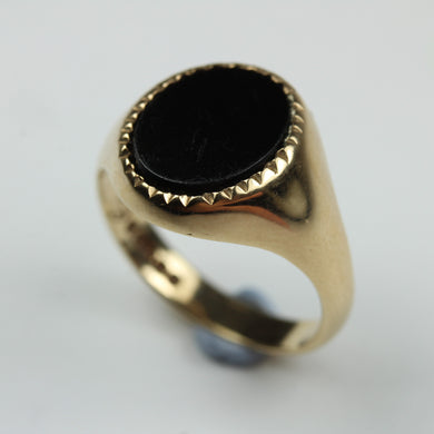 9ct Yellow Gold Oval Cut Black Onyx Signet Mens Ring