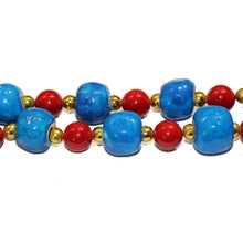 Blue and Red Glass Necklace