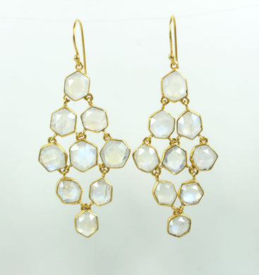 Gold Plated Sterling Silver Moonstone Earrings