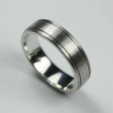 18ct Brushed White Gold Mens Band Ring