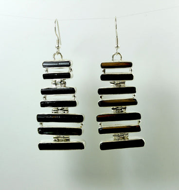 Sterling Silver Black Tourmaline Earrings
