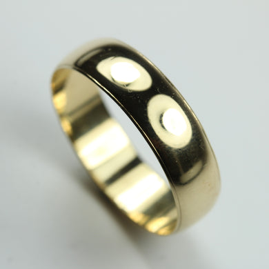 Large 9ct Yellow Gold Band Mens Ring