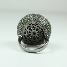 Sterling Silver White Sapphire Ball Ring