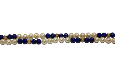 Pearl, Lapis Lazuli and 9ct Gold Necklace