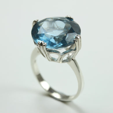 Sterling Silver Synthetic Light Blue Topaz