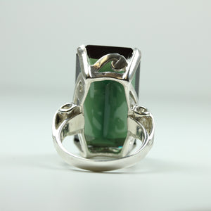Sterling Silver Green Synthetic Topaz Ring