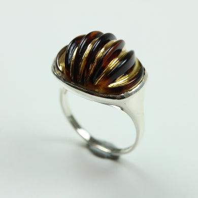 Sterling Silver Black And Gold Glass Ring