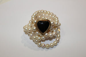 Onyx Heart Cultured Pearl Necklace