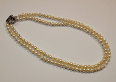 Vintage 14ct White Gold Multi-Strand Akoya Pearl Necklace