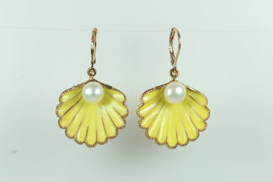 Silver Gold Plate Yellow Enamel Shell Shaped Studded Earrings