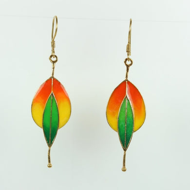 Sterling Silver Orange and Green Enamel Drop Earrings