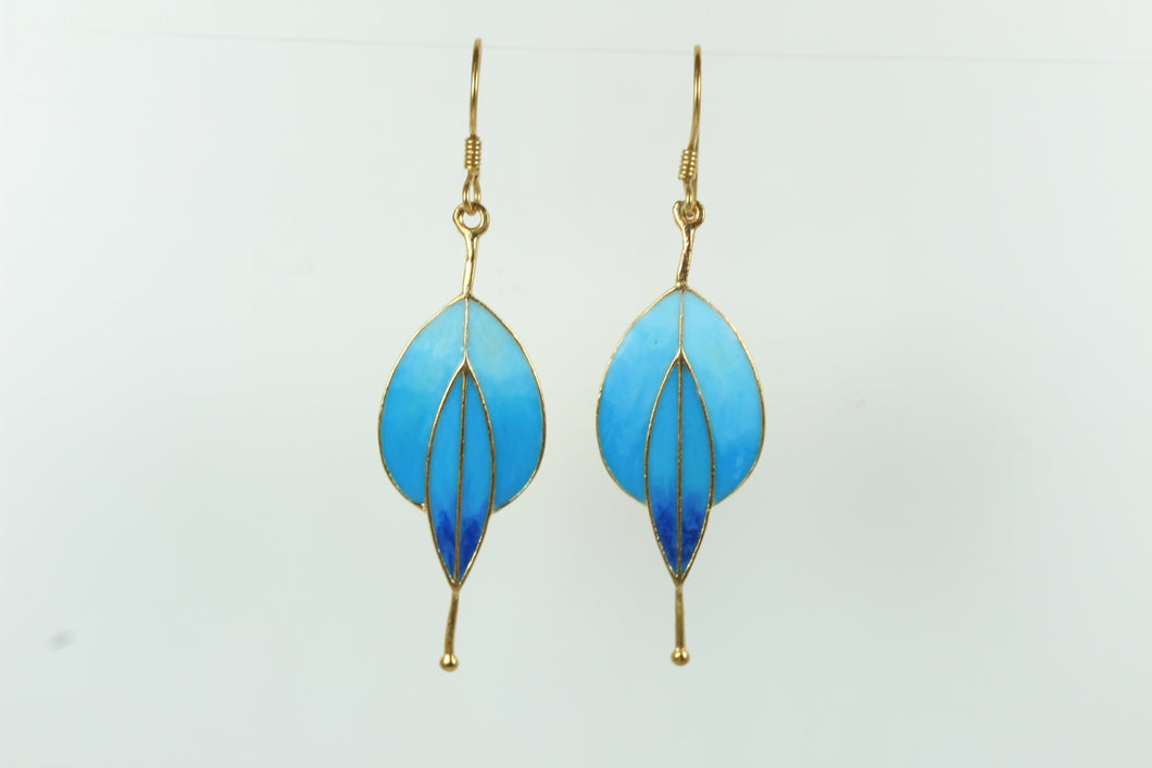 Shimmering Silver Gold Plate Blue  Enamel Shepard Hooked Earrings