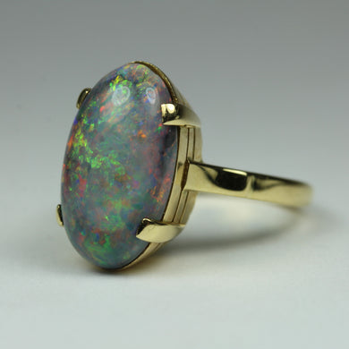 18ct Yellow Gold Solid Matrix Opal Ring