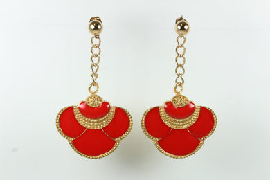 Silver Gold Plate Enamel Studded Earrings