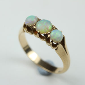 Victorain 15ct Yellow Gold Three Cabochon Opal Ring