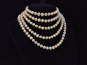 Lariat Length Cultured White Pearl Necklace