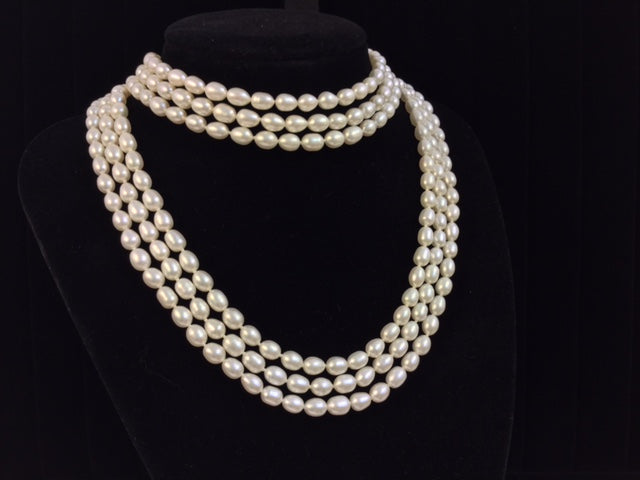 Three Strand Cultured Button Pearl Necklace