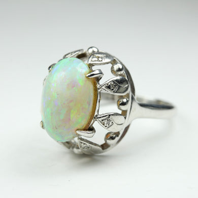 18ct White Gold White Opal Cocktail Ring