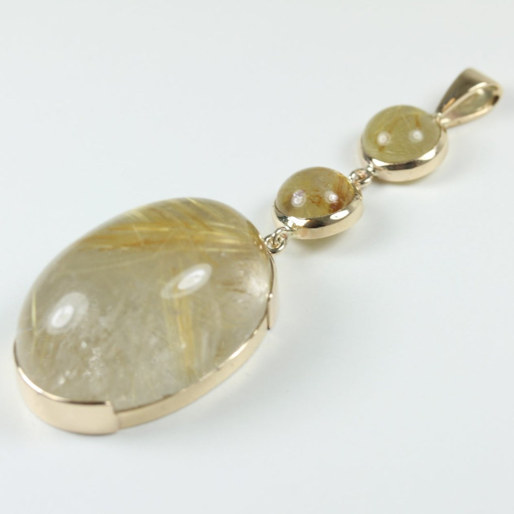 9ct Yellow Gold Rutile Quartz Pendant