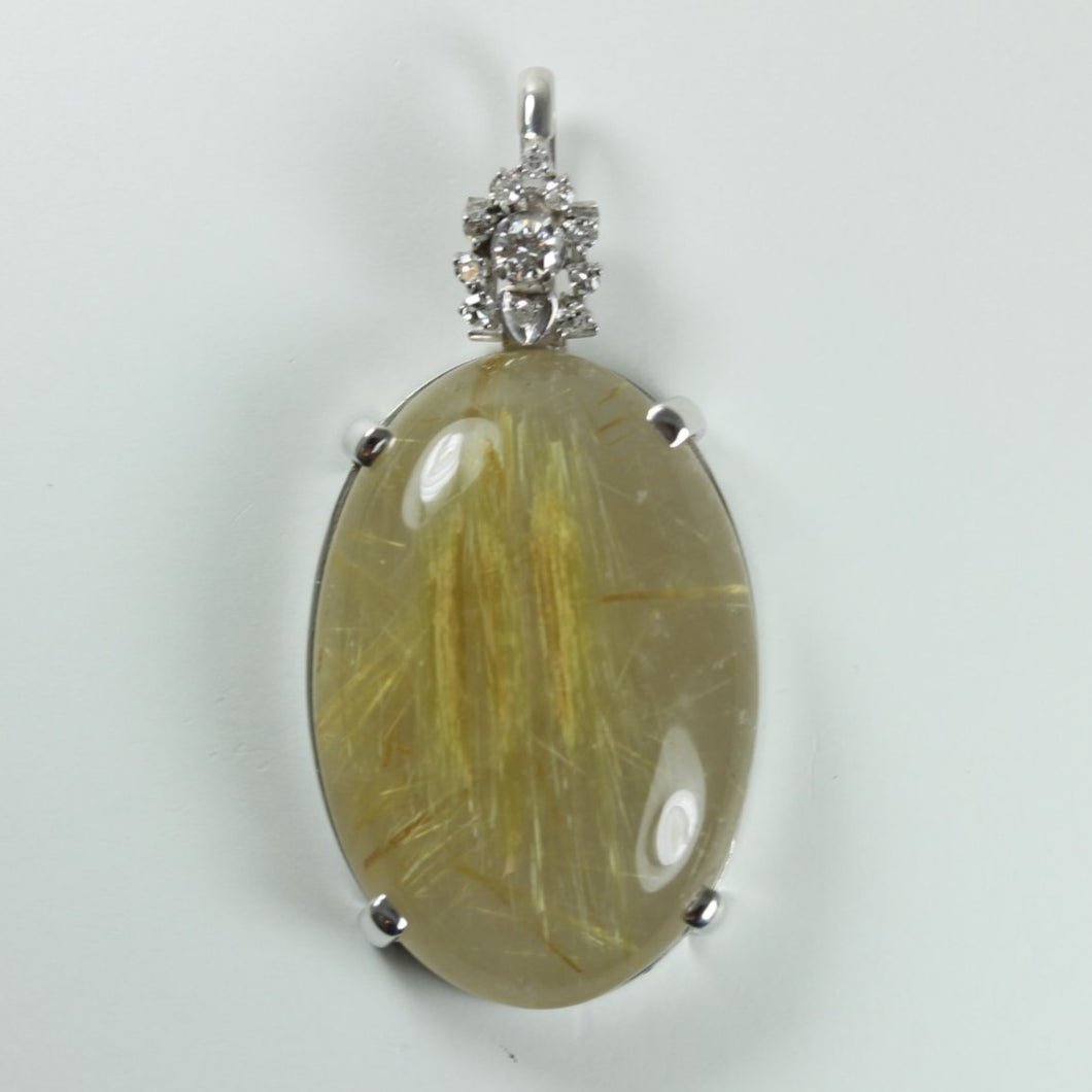 9ct White Gold Rutile Quartz And Diamond Pendant
