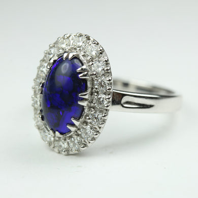 21ct White Gold Lightning Ridge Black Opal And Diamond Ring