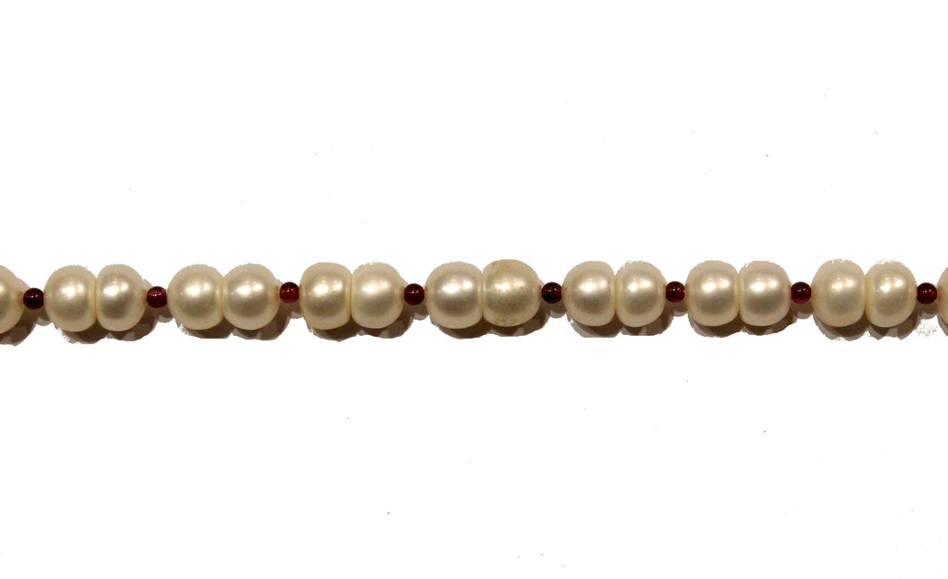 Garnet and Cultured Pearl Necklace