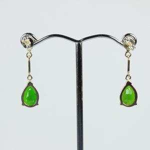 Pair Of 9ct Yellow Gold Modern Diopside Earrings