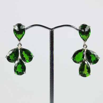 Pair Of 9ct Yellow Gold Modern Three Clover Diopside Earrings