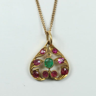 22ct Yellow Gold Ruby And Emerald Pendant with Chain