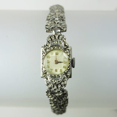 Ladies Marcasite Art Deco Wind Up Watch